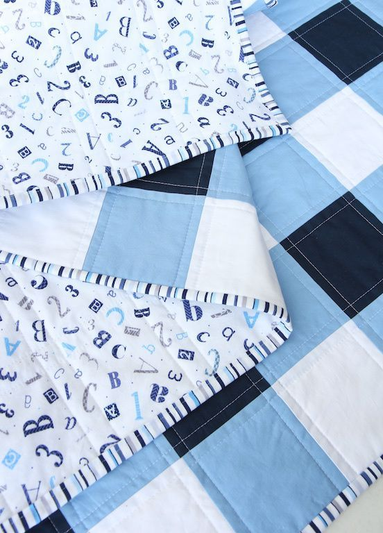 Navy Blue and white Gingham Quilt with mitered binding