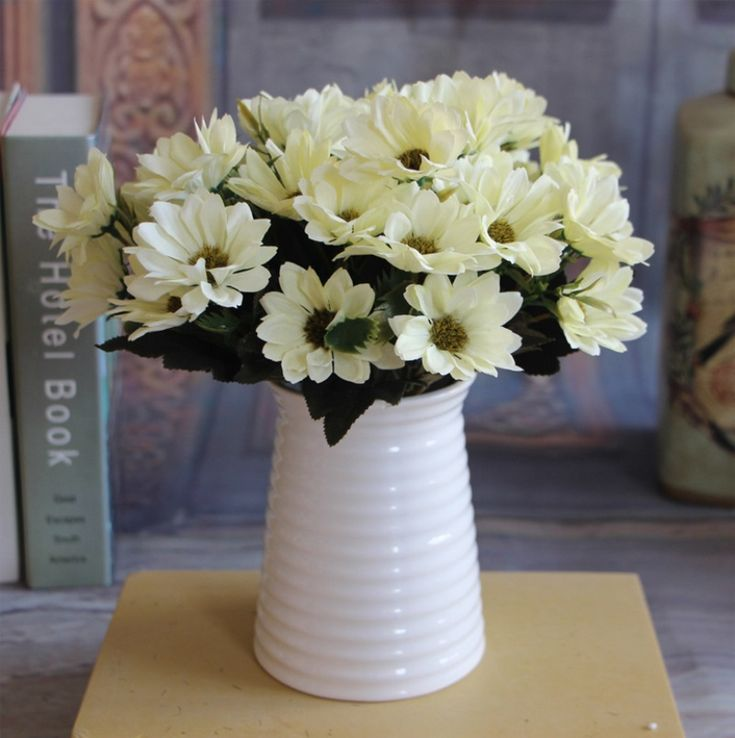1 pcs/10 Têtes Européenne Floral Artificielle Daisy Fleur En Soie Bouquet Printemps Marguerite Pour la décoration De Mariage Pas Cher Faux Marguerite fleurs