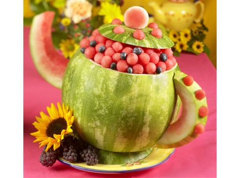Tea Pot  -  The perfect tea party centerpiece, this carved watermelon kettle is sure to brew up a slew of compliments.