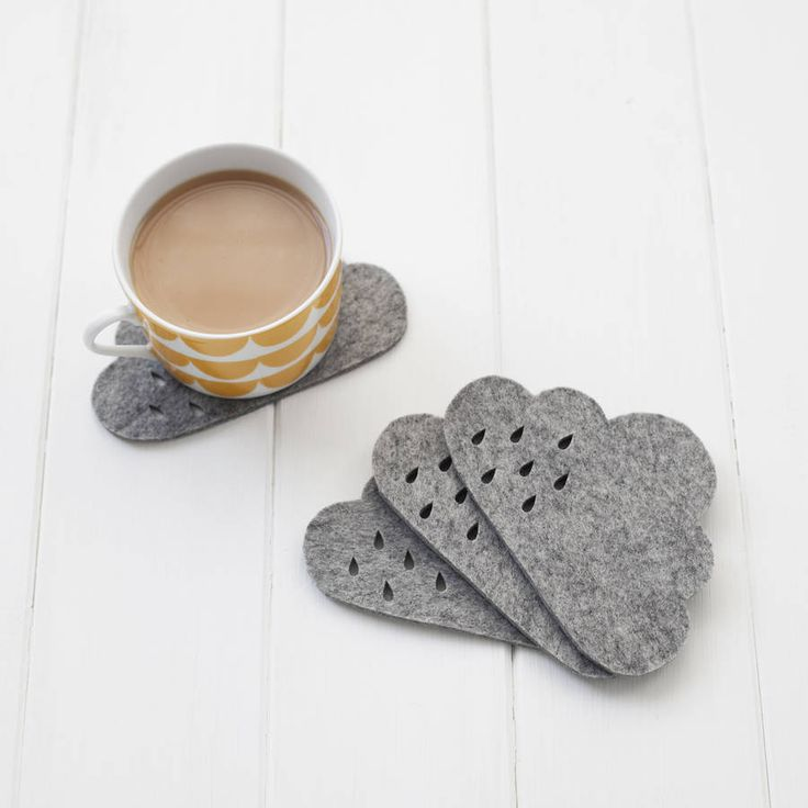 Handmade coaster set made from 100% wool felt. This modern and kitsch weather themed home decor would make a great addition to your home, they are practical and pretty.