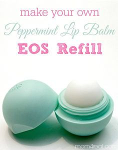 So, when I got to the end of my last peppermint EOS, I thought...what a shame to throw this cute little container away...I wonder if I can make my own refill. Well, folks, the answer is YES! You can make your own Homemade Peppermint Lip Balm EOS Refill! Whoop!