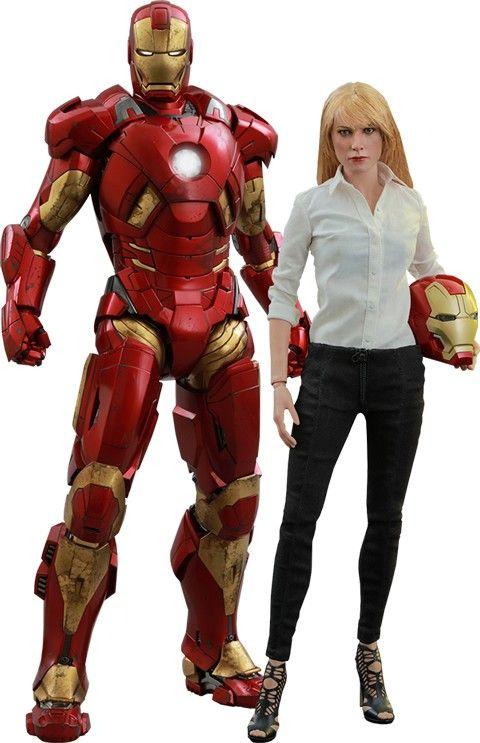 Iron Man 3 Movie Masterpiece Action Figure 2-Pack 1/6 Mark IX & Pepper Potts