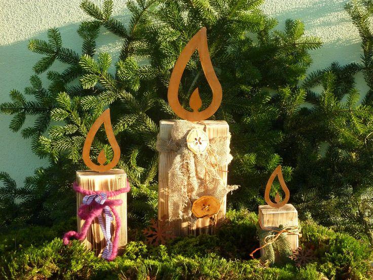 Details zu Edelrost Flamme, Kerze, Weihnachten, Advent, Rost - gartendeko aus holz und metall