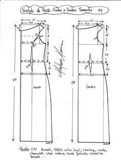 Esquema de modelagem de vestido de festa ombro a ombro tamanho 44.