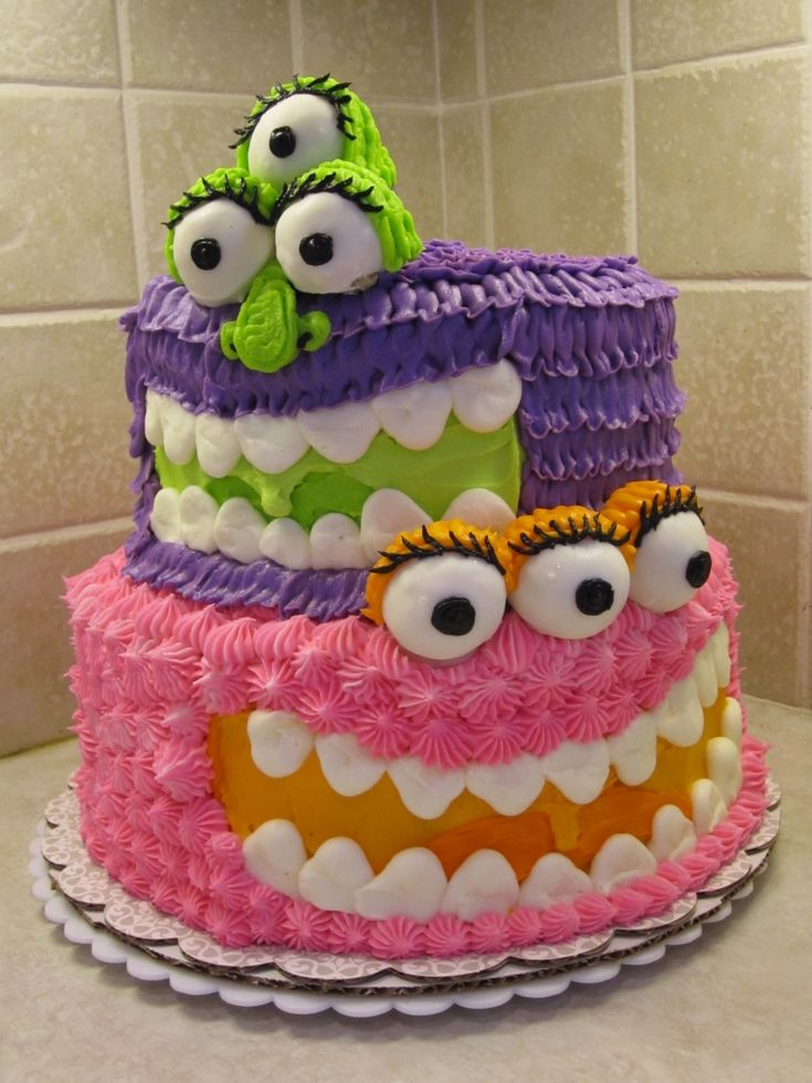 [girly monsters cake]: Monsters Cakes, Cute Monsters, Cute Cakes, Kids Cakes, Cakes Wreck, Monsters Party, Cakes Idea, Birthday Party, Birthday Cakes