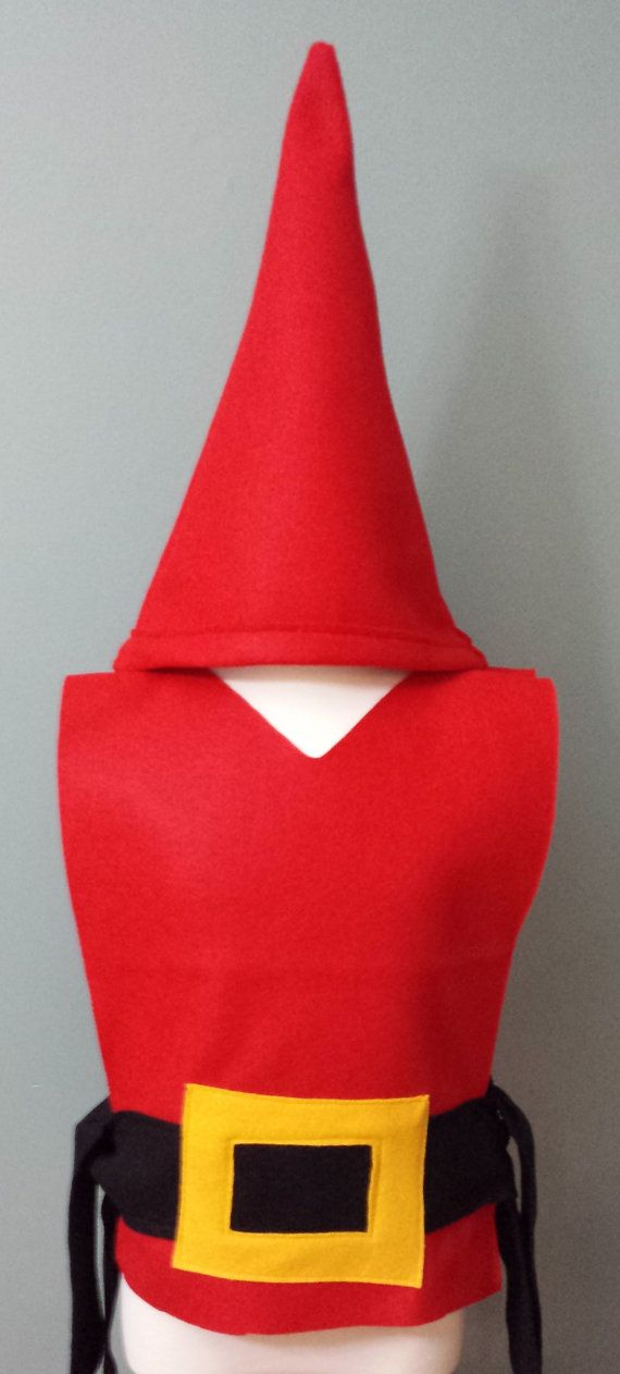 Our adorable Gnome Costume Set is a perfect costume. Each tunic is made of Eco-Friendly blue or red felt with black belt with gold detail. Choose to add on our gnome hat and beard. READY TO SHIP IN 1-3 DAYS  Our Costume Tunics are made from Eco-Friendly felt with hand cut details sewn on. The tunics are open on the sides with a tie belt. Perfect for Parties, School Plays, Halloween, and Dress Up!  All our tunics are machine washable. Hang Dry.  Available individually and in party packs…