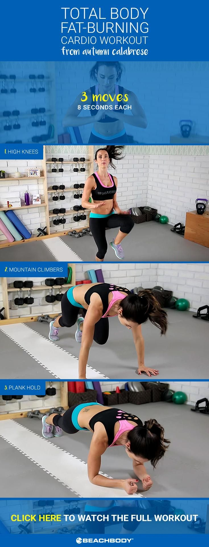 This Total Body Fat Burning Cardio Workout from Autumn Calabrese will work every single muscle and get you sweating in under 7 minutes! Watch the whole video here. // Beachbody // BeachbodyBlog.com //  21 Day Fix // 21 Day Fix Extreme // fitness // fitspo // motivation // exercise // Inspiration // fitfam //fixfam // fit // cardio