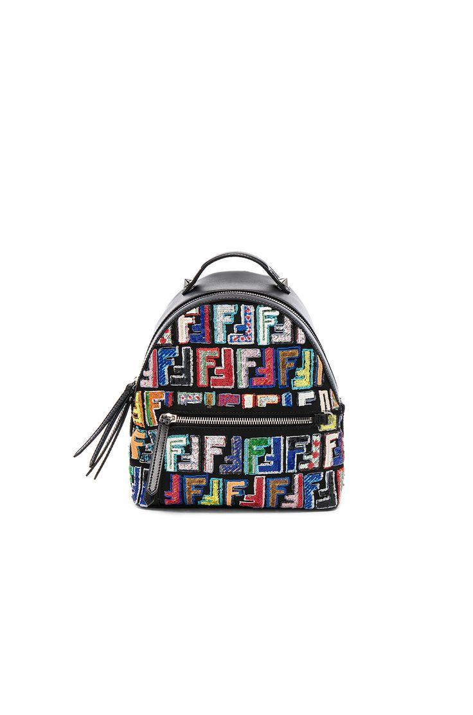 Image 1 of Fendi Mini FF Embroidered Backpack in Black & Multicolor