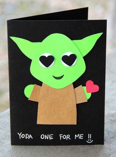 Yoda One for Me!- Valentine's Day Card by thepaperhugfactory on Etsy www.etsy.com/… Star Wars card