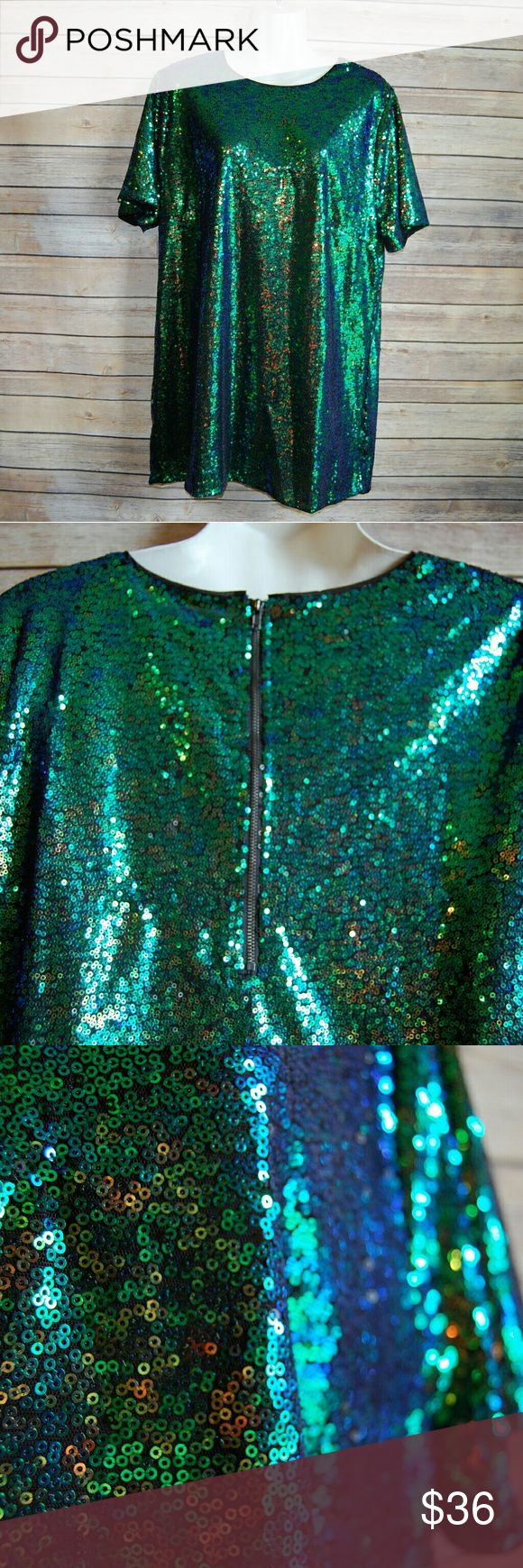 """Sequined Blue Green Mini Dress or Shirt Medium as a over sized mini dress Large/XL as a long shirt Maddy K brand Black underneath  NO flaws♡  Length- 23 1/2"""" Bust- 18""""   If this doesn't sell soon I will be keeping it 💚💙 maddy..K Dresses Mini"""
