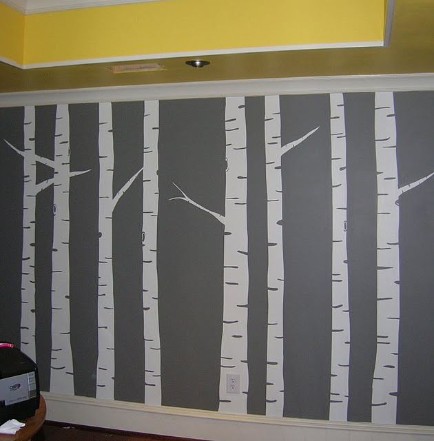 Diy Birch Tree Wall Art Mural Painting Gray Yellow   So Cool! Part 47
