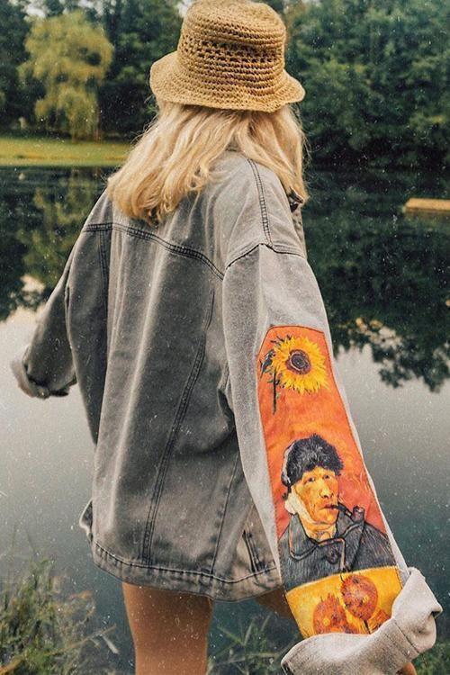 Vincent Van Gogh Embroidered Denim Jacket - M / Blue in 2021   Indie outfits, Embroidered denim jacket, Fashion