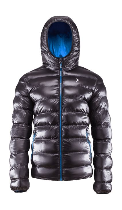 Men's down jacket, available in three colors. Bionic Eco finishing provides increased level of fabric breathability and moisture protection. The structure of the material reflects light well and makes the colors very visible. Smart trick to stand out from the crowd!   Benefits: -two side pockets -integrated hood, protecting from the cold -reflective elements, increasing visibility