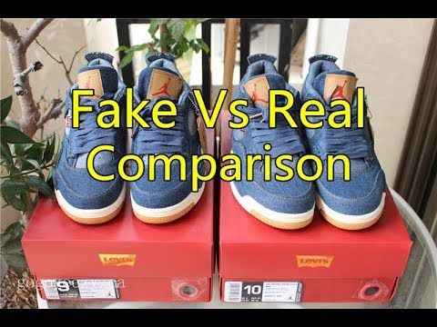 promo code f15af 2cfeb Fake Vs Real Comparison: Levi's x Air Jordan 4 - gogoyeezy ...