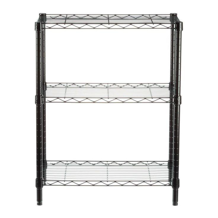 Honey-Can-Do 3-Shelf 30 in. H x 24 in. W x 14 in. D Steel Commercial Shelving Unit