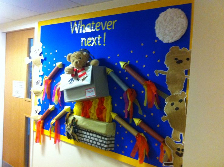 Whatever next display. Children painted baby bear and then made their own rockets.