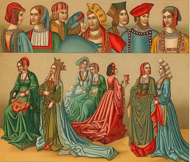 Now the clothing in the medieval age worn by the women were much influenced by classical style of the Greek and Roman women. Description from nainabhadana.wordpress.com.