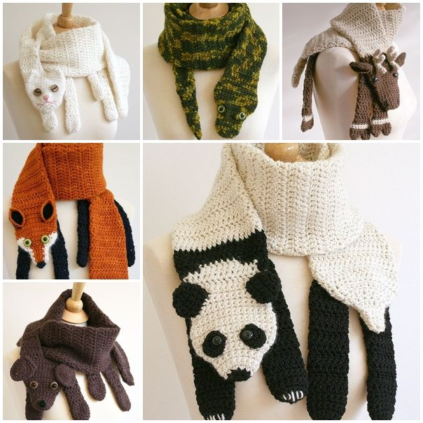 Cute Crochet Animal Scarves, they are great handmade gifts !  Check pattern:  http://wonderfuldiy.com/wonderful-diy-cute-crochet-animal-scarves/