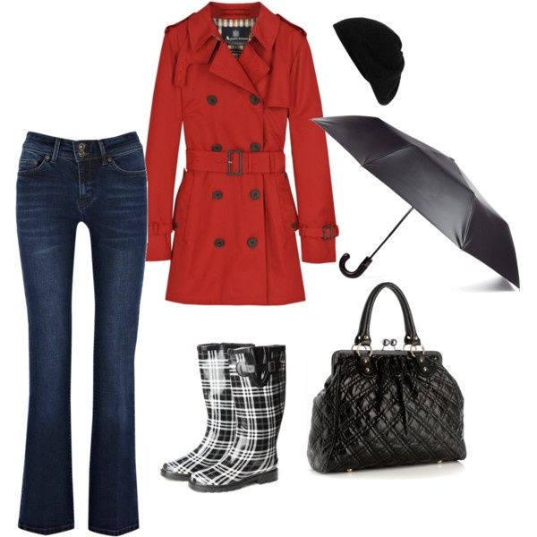 A red raincoat?? Yes please! Super cute for a rainy day.