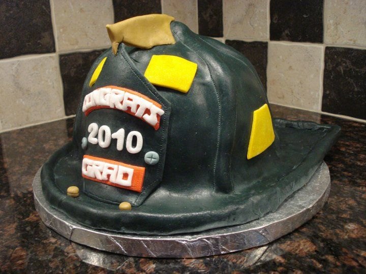 Fire Helmet Cake - First Competition Cake! CT Cake Competition 2010. Took 2nd place in the beginner's division!  :)