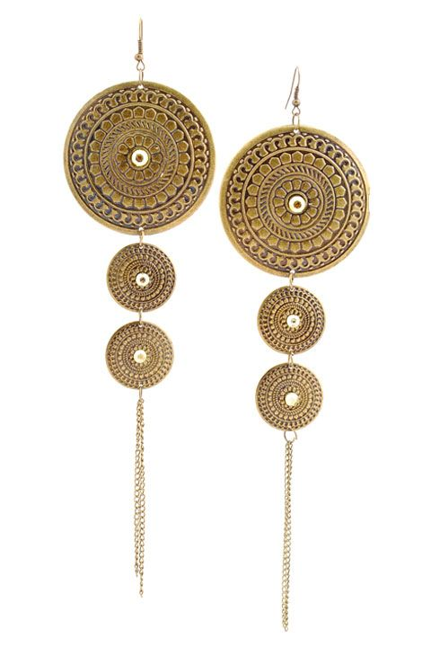 Zalamea de la Serena  Cancho Drop Disk Earrings