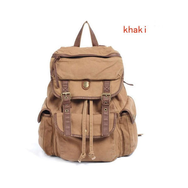 Vintage WOMEN Casual Canvas Leather Backpack Rucksack Bookbags Bag Liked On Polyvore