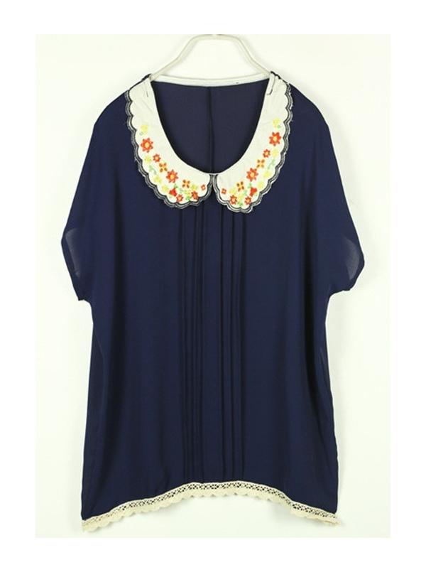 navy blue batwing sleeve round neck chiffon shirt -