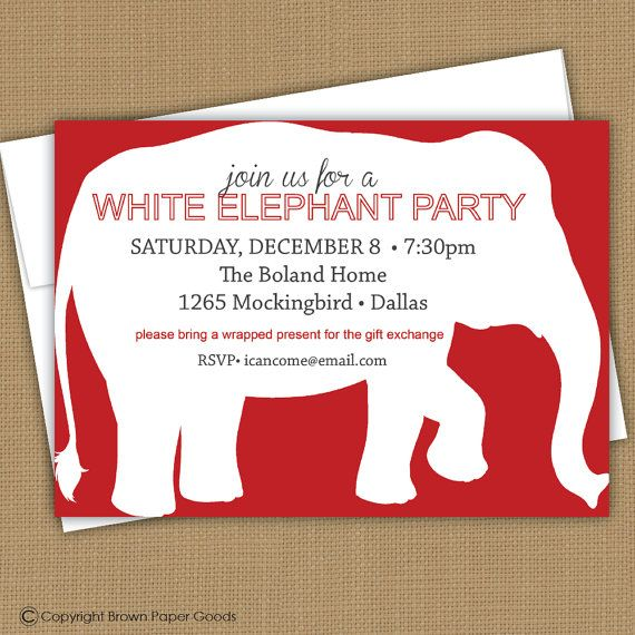 White Elephant Party Invitation by brownpaperstudios on Etsy, $15.00
