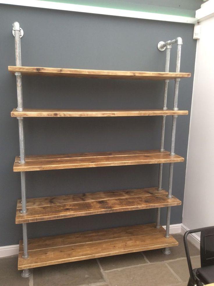 Rustic Industrial Scaffold Board Plank Bookcase Shelving Unit | eBay
