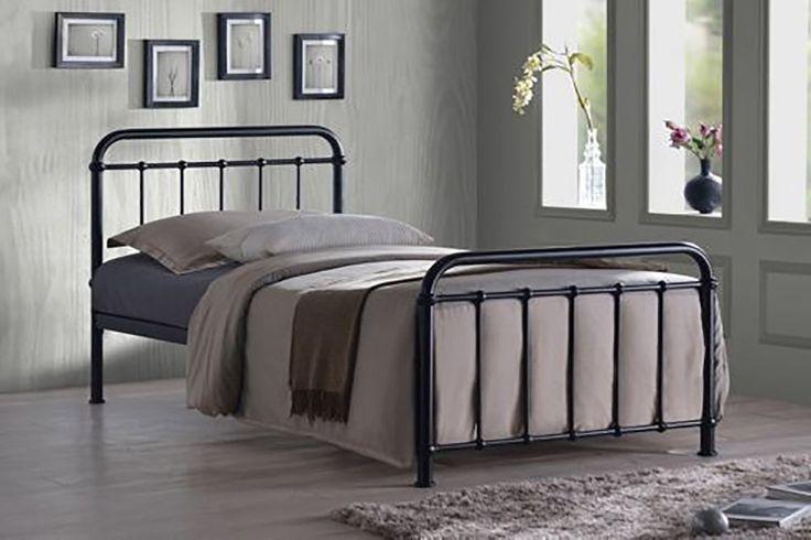 Henley Black Metal Victorian Hospital Dormitory Single Size Bed Frame