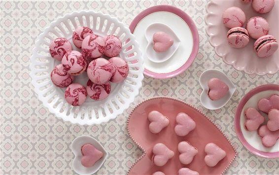 Cookies, macaron, aliments sucrés, dessert, coeurs d'amour, rose Fond d'écran Aperçu