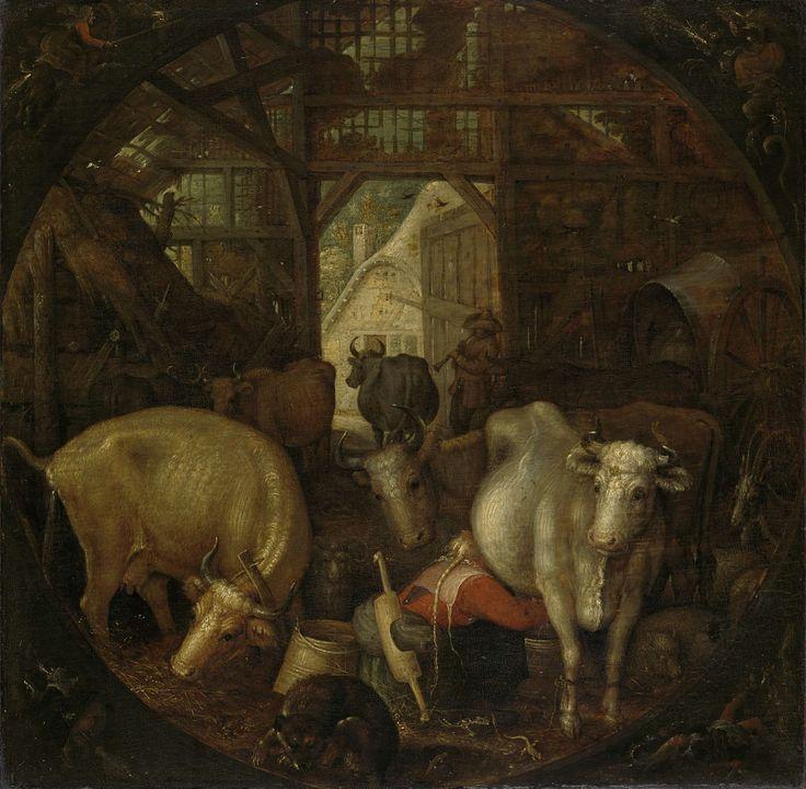 Koeien in een stal; in de vier hoeken heksen, Roelant Savery, 1615