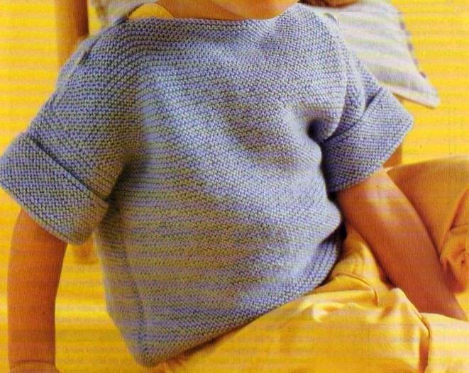 Un pull pour enfant tout simple à tricoter au point mousse. Tailles : 2 - 4 et 6 ans Aiguilles N° 3,5 Le petit pull lacé