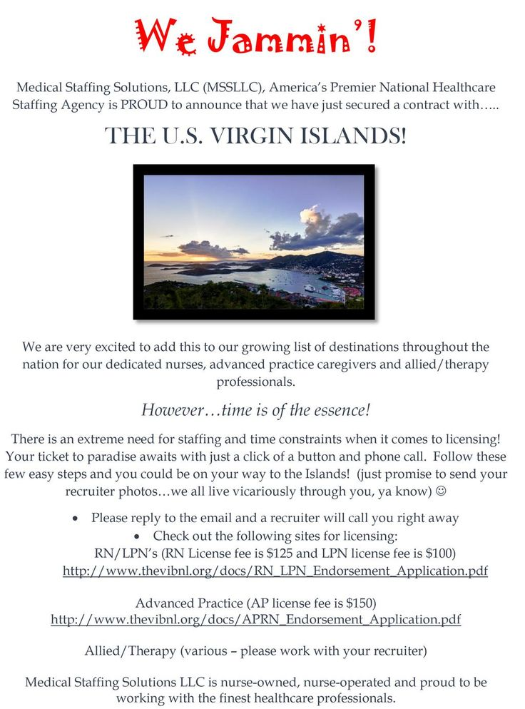 Hey #travelnurses have you heard the news?We just signed a contract with the #VirginIslands! http://www.mssmedicalstaffing.com