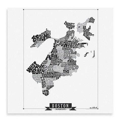 boston black u0026 white map framed wall art