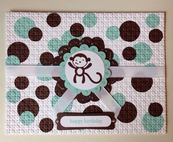 Polka Dot Monkey Birthday Card