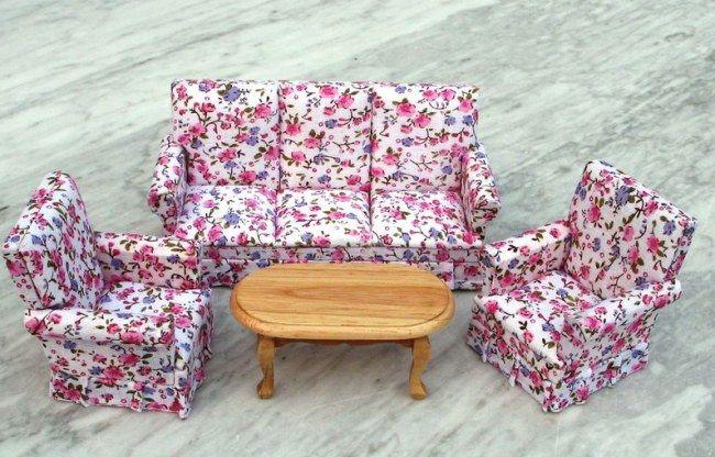 Puppenhaus Couchgarnitur Sofa Sessel Tisch Flowers Möbel