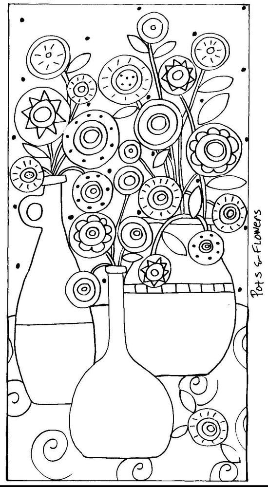 Rug Hook Craft Paper Pattern Pots Amp Flowers Abstract Folk