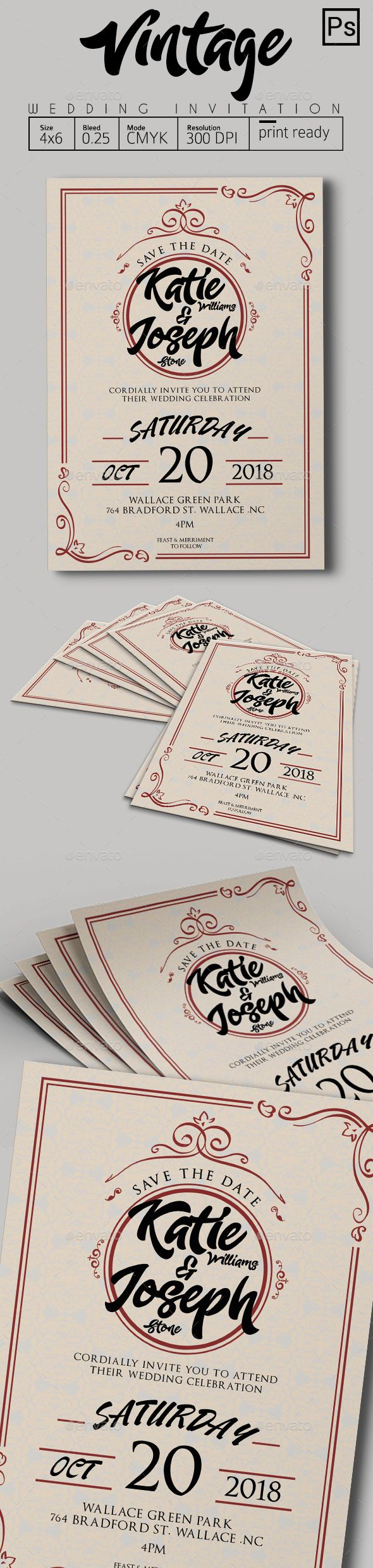 Vintage Wedding Invitation  PLEASE DOWNLOAD HERE !!! https://graphicriver.net/user/tiaga/portfolio