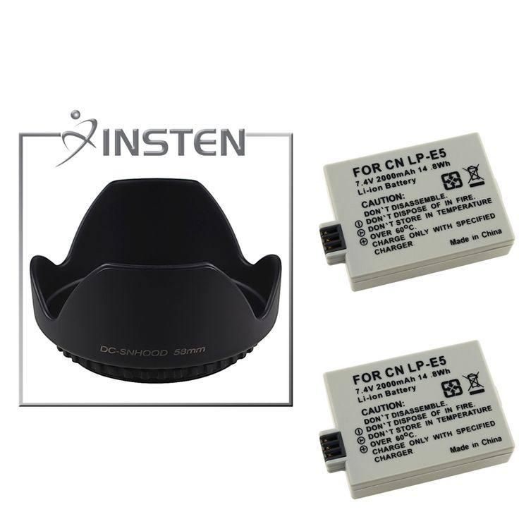 Insten Battery/ Hood for Canon XSi 450D/ 1000D/ EOS T1i