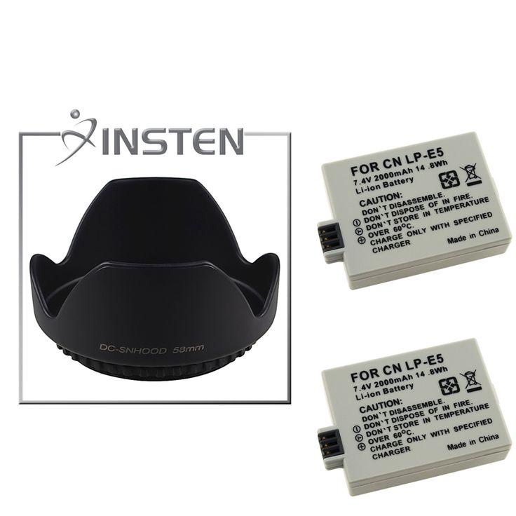 Insten Battery/ Hood for Canon XSi 450D/ 1000D/ EOS T1i