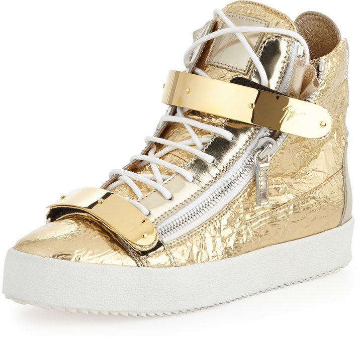 Giuseppe Zanotti Men's Foil Metallic Leather High-Top Sneaker