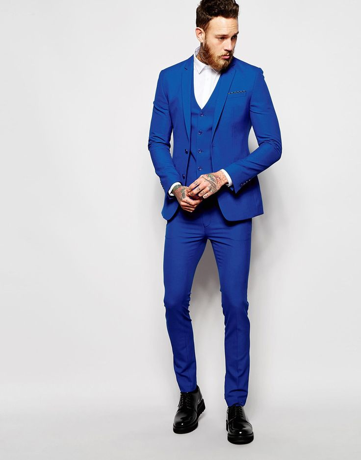 ASOS+Super+Skinny+Fit+Suit+In+Blue