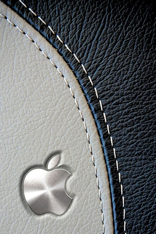 Iphone X Logo Wallpaper Metal Apple Logo On Leather Background Jpg 640 215 960 Pixels