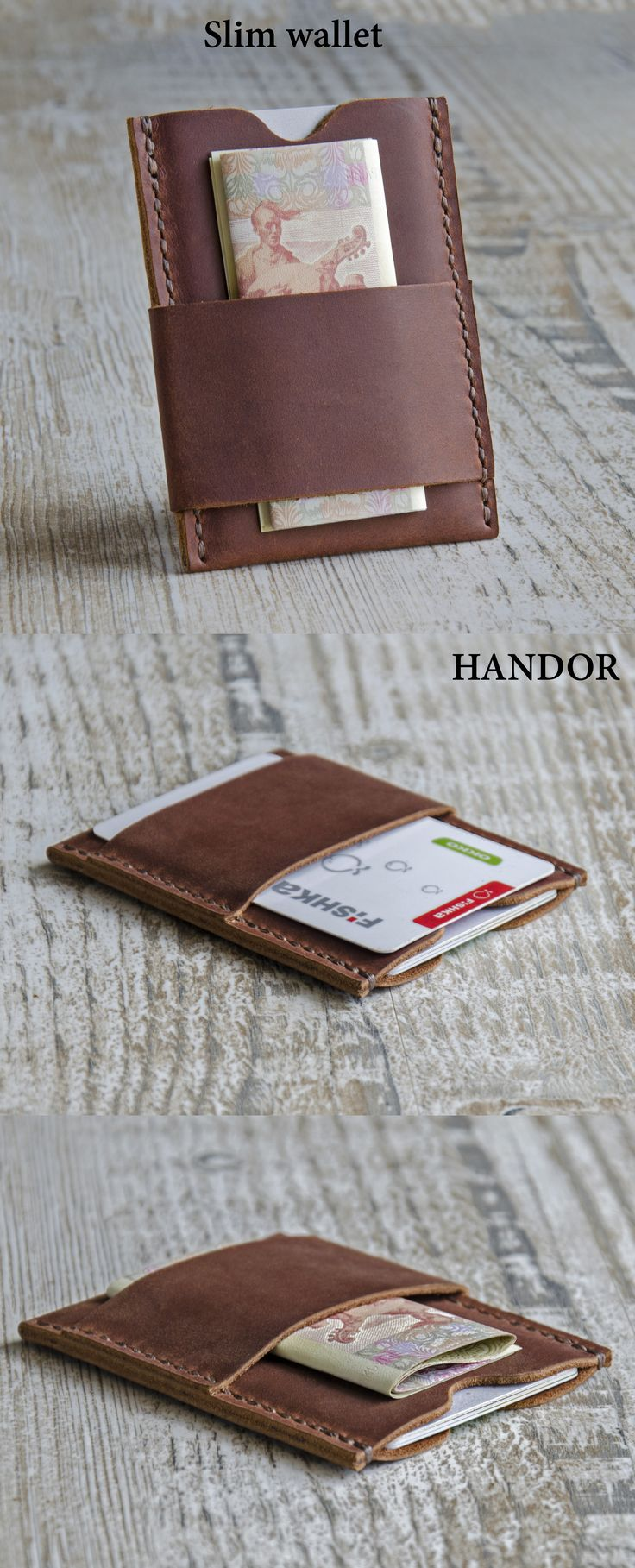 The Handmade Leather Card Wallet (front pocket wallet).. It is light, practical and elegant, made of soft leather, very durable and created with love. Its small size makes it perfect for people who like front pocket wallets.  Its an awesome, unique gift idea that will make the lucky recipient a very happy camper.
