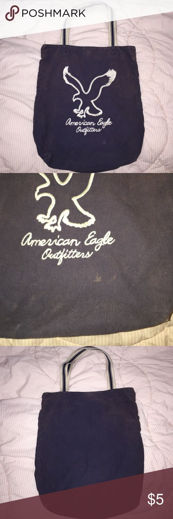 Blue American Eagle tote bag Blue American Eagle tote bag. Faded in color a bit and has a few marks. American Eagle Outfitters Bags Totes