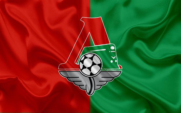 Download wallpapers FC Lokomotiv Moscow, 4k, Russian football club, Lokomotiv logo, emblem, Russian football championship, Premier League, football, Moscow, Russia, silk flag