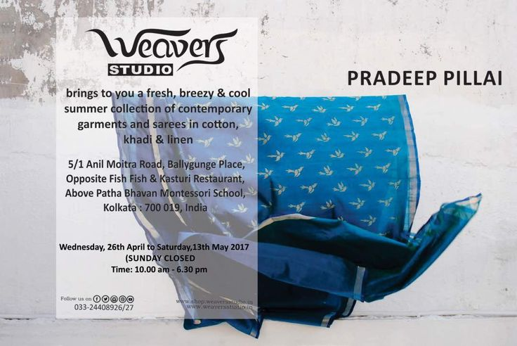 Contemporary khadi saree for the scotching summer. Lay your hands on Pradeep Pillai's garments at Weavers Studio.