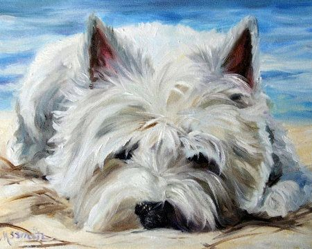 Beach Bum (Westie West Highland Terrier) Print of Original Oil Painting  Printed on Unstretched Canvas OR Heavy weight Water Color Paper Each Print has a white border around it so that it can be mounted on a panel or stretcher bars for framing OR can be framed as is in a regular frame with matt and glass. Any Canvas Print is also available on heavyweight paper direct from the artist in 8x10 or smaller and signed. (canvas prints and needlepoints are mailed from our other address and will not…