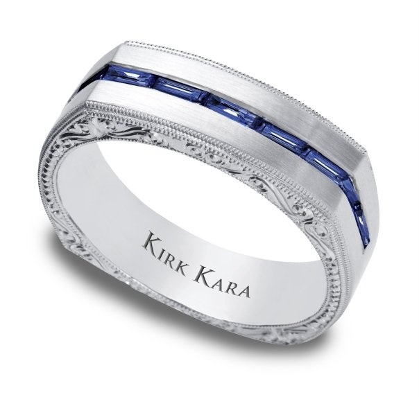 Perfect Custom hand engraved men us band with a row of blue sapphire baguettes magnificent From
